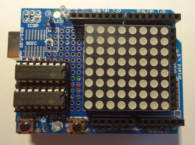 Arduino / 8x8-LED-Matrix-Schaltung vom Breadboard auf ein